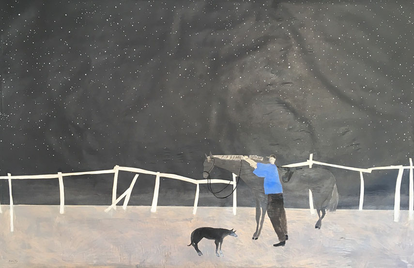 Gigi Mills - Night Sky, Horse, Groom and Dog Walking The Backside Of The Track