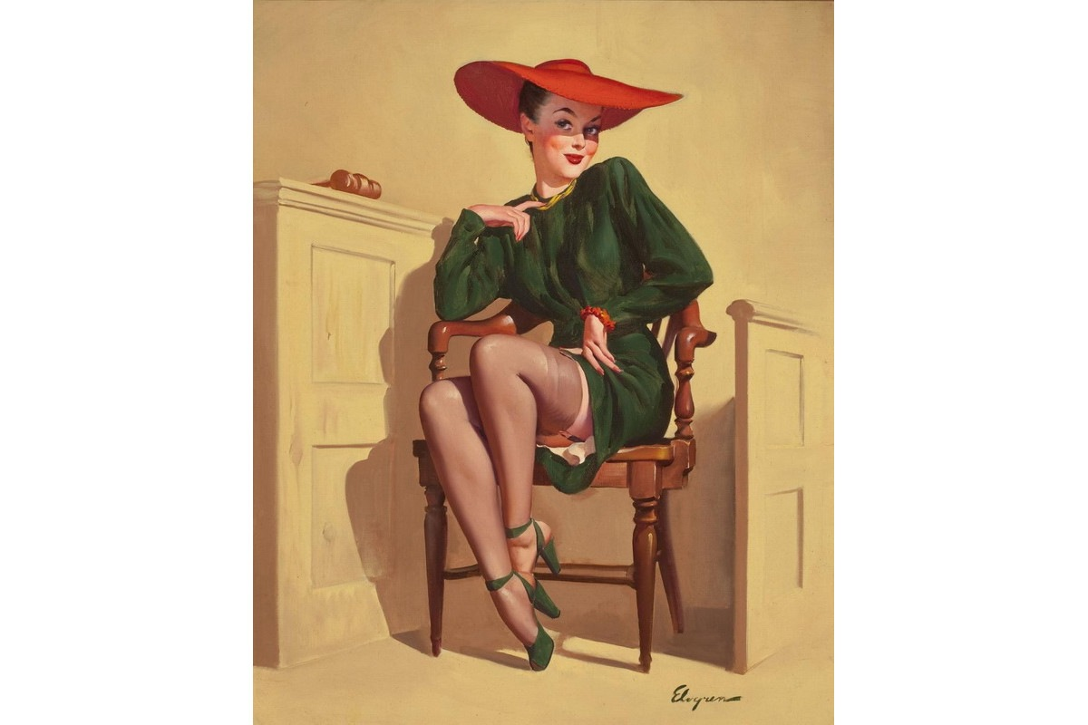 Pin up art by Gil Elvgren is characterized by elegance and his pin up girl models wore high fashion dresses and make up