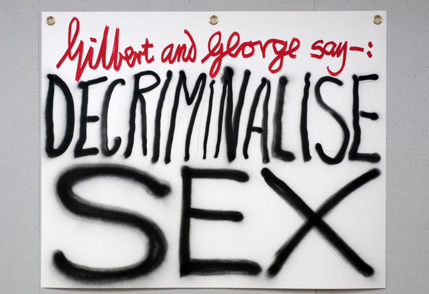 Gilbert  George -Gilbert  George say Decriminalise Sex 2