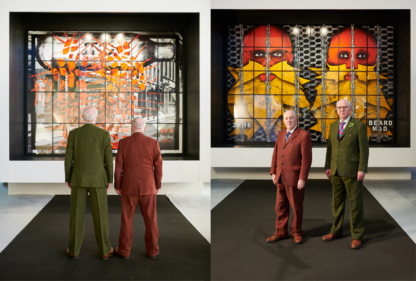 Gilbert and George in front of their work at BRAFA 2019. © Fabrice Debatty