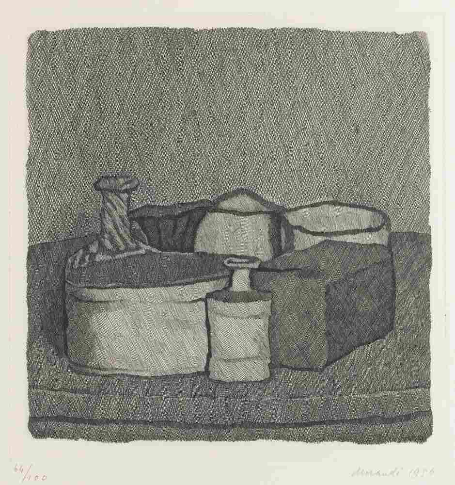 Giorgio Morandi-Natura Morta Con Quattro Oggetti E Tre Bottiglie-1956