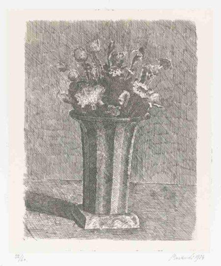 Giorgio Morandi-Vaso A Strisce Con Fiori-1924