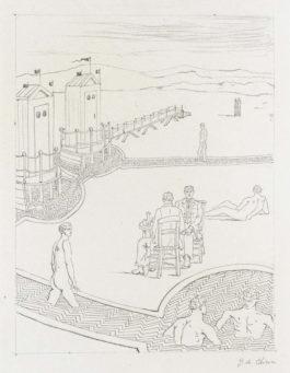 Giorgio de Chirico-Bagni Misteriosi Con Borghesi Al Tavolo D'Osteria (Mysterious Baths With Bourgeois At The Tavern Table)-1934