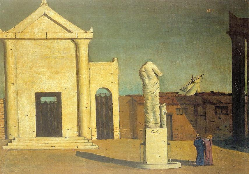 Two painters met in Ferrara to support each other in the pursuit of pittura metafisica also known as metaphysical painting. The style is associated with Italy and it is one of the main terms typical for de Chirico and Carra.