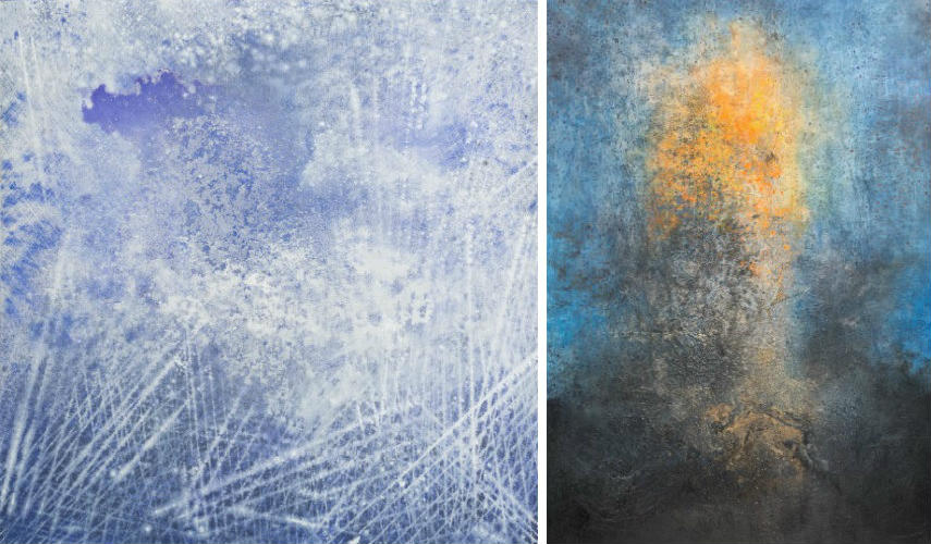 Govinda Sah Azad - Wondering Cloud, 2016 (Left) - Reflection, 2016 (Right)