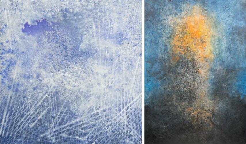 Govinda Sah Azad - Wondering Cloud, 2016 (Left) - Reflection, 2016 (Right)