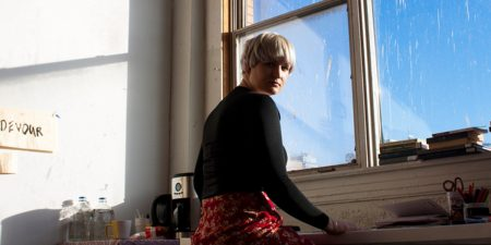 Grace Cross - Photo of the artist in her studio - Image courtesy of LKB/G Gallery