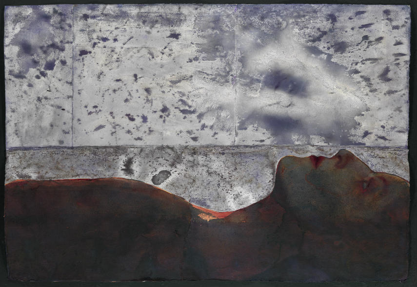 Graham Dean - Boundary Beach 1, 2010 watercolour handmade details body paint policy contact paper