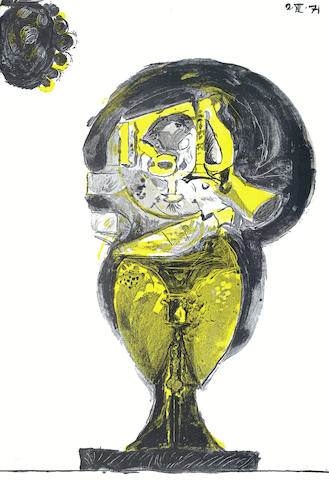 Graham Sutherland-A Collection (Portrait of Dr Konrad Adenauer, Roses, Standing Rock Form, Sheet of Studies, Three Standing Forms)-1979