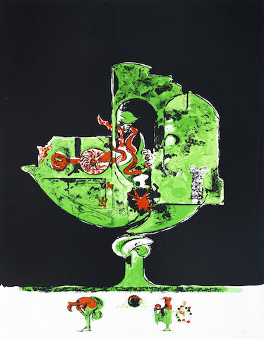 Graham Sutherland-A Collection (The Swimmer, The Rock, Flames in a Rock Form II, Fossil with Rocks and Flames)-