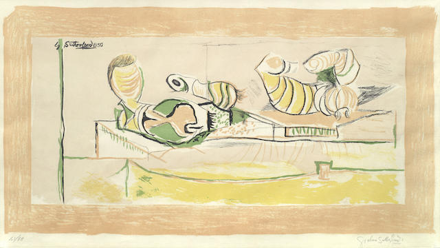 Graham Sutherland-Articulated forms (Pink Background), Forms on a terrace-1950
