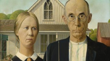 Grant Wood - American Gothic, 1930; one of the most recognizable paintings in american history