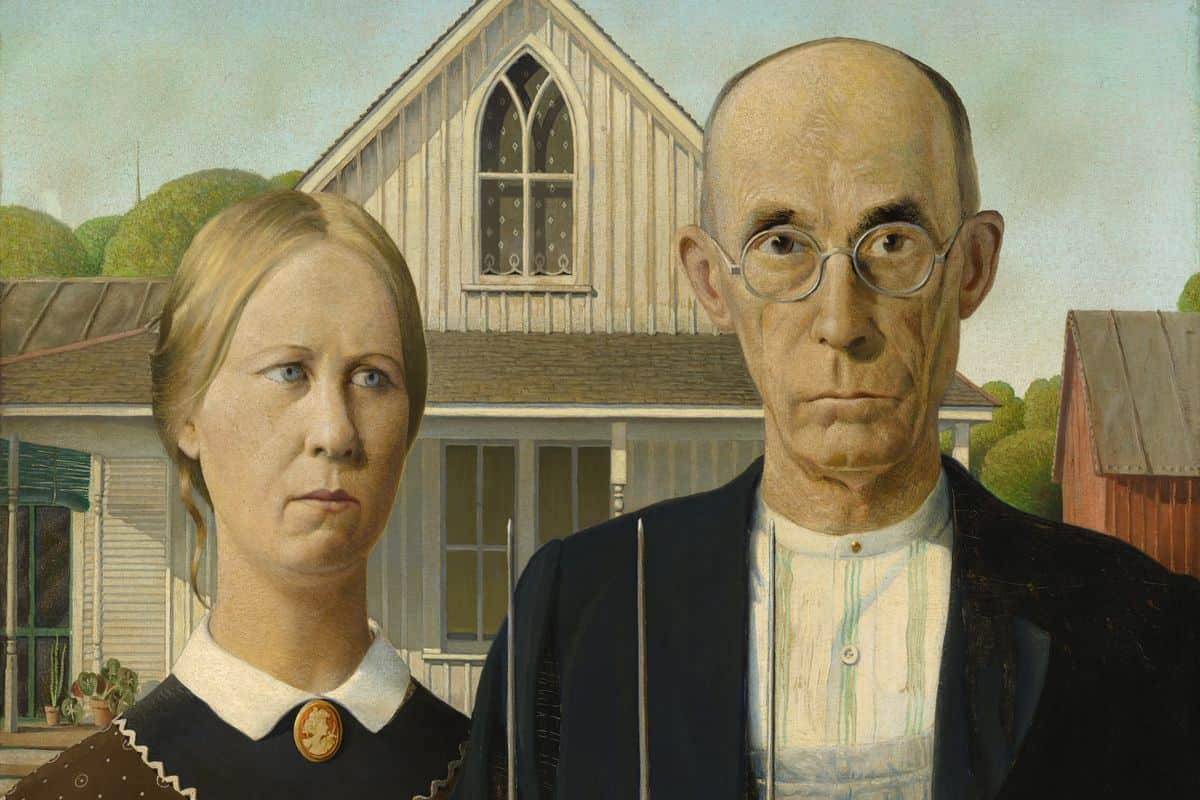 Grant Wood - American Gothic, 1930; Iowa home, one of the most recognizable paintings in american history