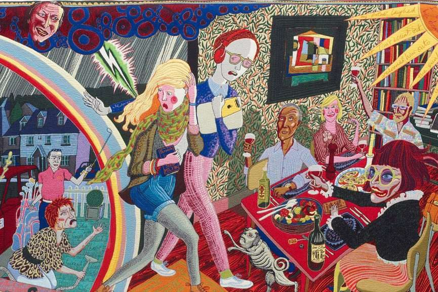 Grayson Perry - Expulsion From Number 8 Eden Close, 2012 - Image via artfundorg, Large floral hangings of a black medieval vintage forest in a cart is a great wall tapestry gift - Art tapestries are the best decor map for your home in the world