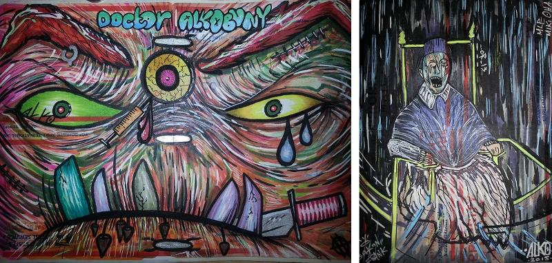 Greg Metcalfe aka Alkomist - Bunny (left) - We Don't Like Bacon (right) - Courtesy of Greg Metcalfe