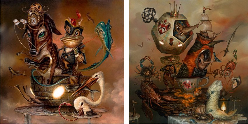Greg Craola  Simkins - Rook s Move, 2016 (Left) / My Specialty is Special Tea, 2015 (Right) photo credits - artist video juxtapoz anmelden