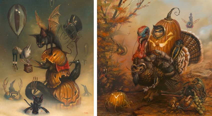 Greg Simkins - Tricky Treators, 2015 (Left) / The Gobbler, 2014 (Right) stop