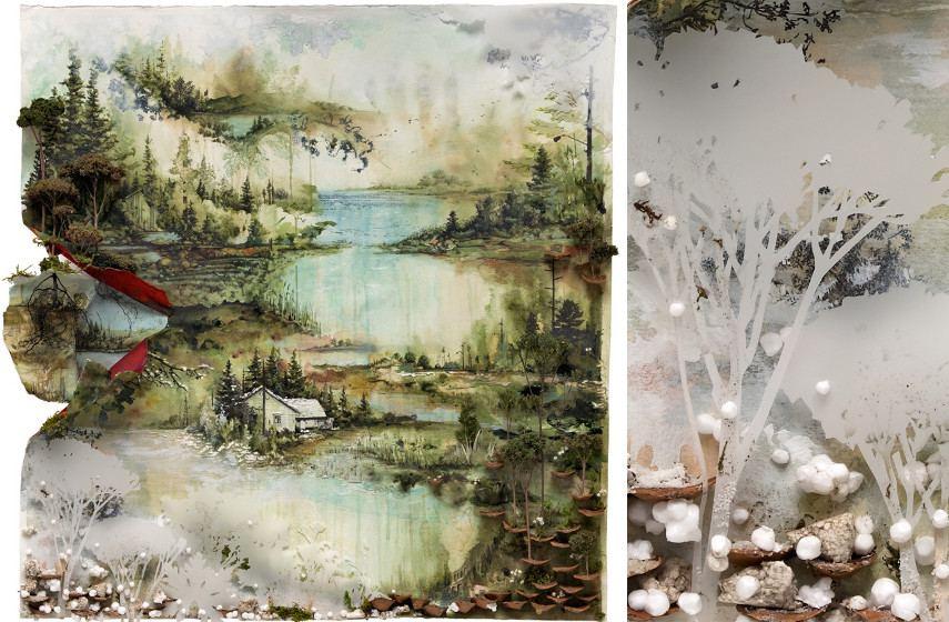 Gregory Euclide - Artwork for cover of Bon Iver's LP Bon Iver (left) , Close up detail (right), 2011