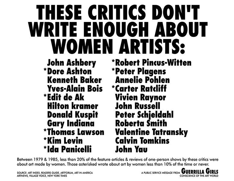 Guerrilla Girls - These Critics Don't Write Enough About Women Artists, 1985