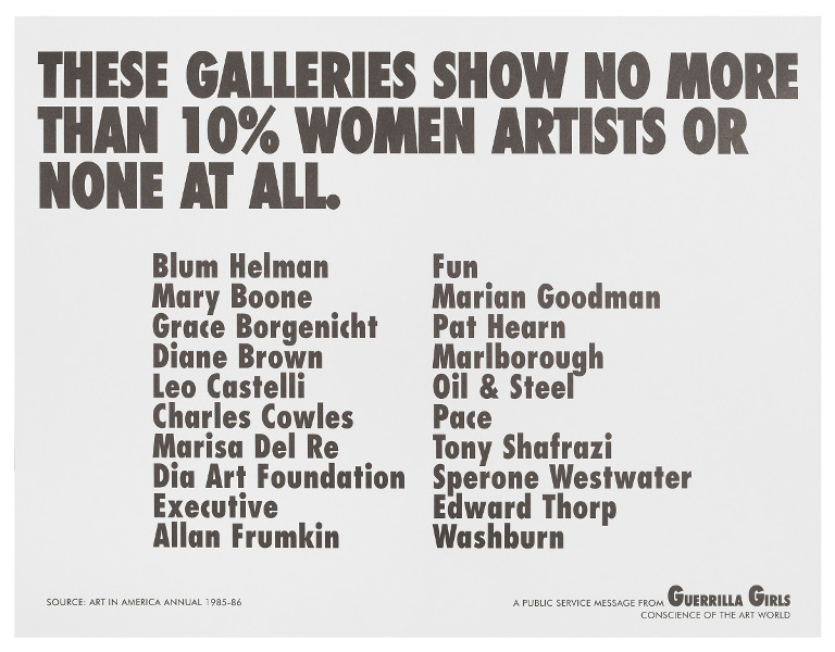 Guerrilla Girls - These Galleries show no more than 10% women artists or none at all., 1984-85