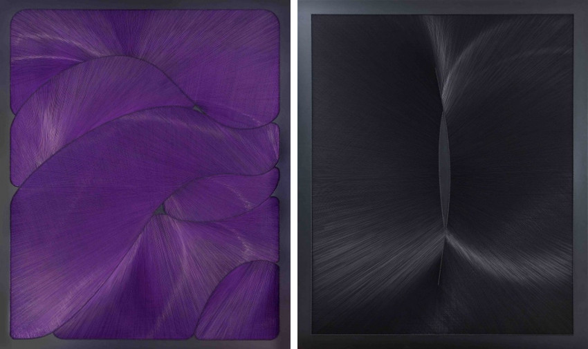 Gulay Semercioglu - Separate Pieces, 2012 (Left) - Black Gap, 2012 (Right). Image via Leila Heller Gallery