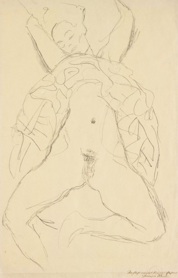Gustav Klimt-Aktstudie Fur Die Rechte Figur In 'Der Braut' (Nude Study For The Right Figure In 'The Bride')-1917
