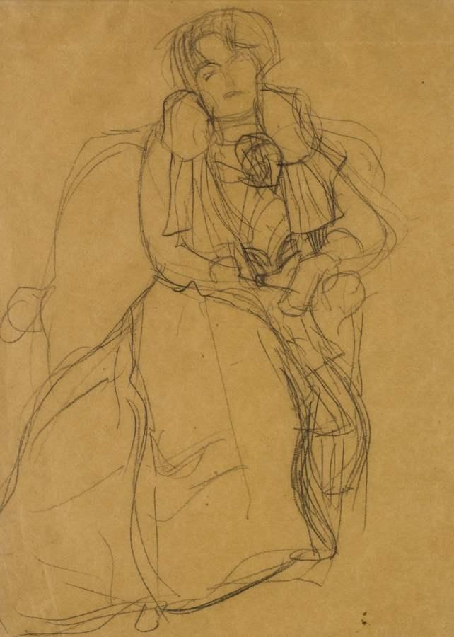 Gustav Klimt-Im Lehnstuhl Sitzend Von Vorne (Seated In An Armchair Seen Head-On)-1902