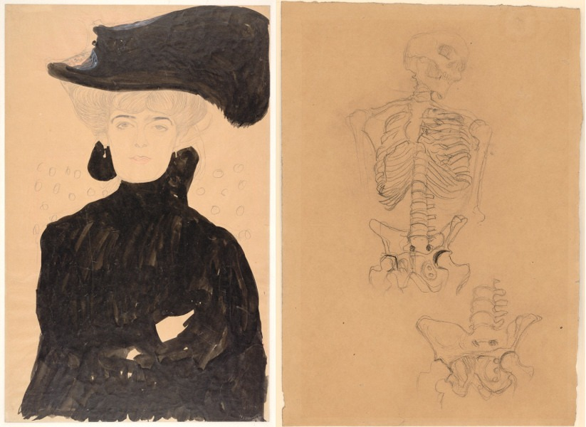 Bloch Kiss - Lady with Plumed Hat, 1908, Two Studies of a Skeleton (Studies for the Transfer Sketch for Medicine), about 1900; Gustav Klimt's works from Vienna, especially life paintings Gustav Klimt drawn in 2012, work around the fact the artist loved to work on a painting by drawing naked in a Secession gallery, but hey, that's just Gustav Klimt life, something Egon Schiele tried to do as well