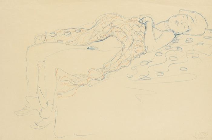 Gustav Klimt-Liegender Halbakt Nach Rechts (Reclining Semi-Nude Facing Right)-1913