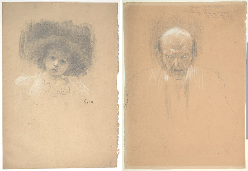 "Gustav Klimt - Portrait of a Child (Study for ""Love""), 1918, Portrait of a Bald Old Man (Study for Love), 1895; Egon Schiele did a self portrait of an Austrian girl for his 1918  works collection"
