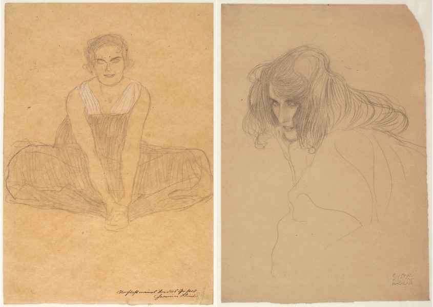 Gustav Klimt - Seated Woman in a Pleated Dress, about 1903, Portrait of a Woman in Three-Quarter Profile (Study for the Works Beethoven Frieze Lasciviousness), 1901