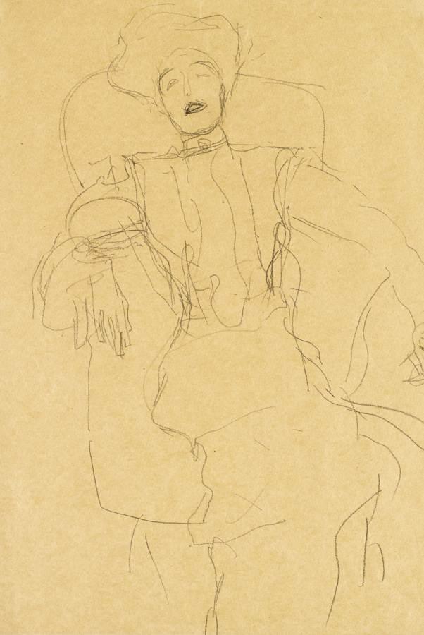 Gustav Klimt-Sitzende Dame Von Vorne (Seated Lady Face-On)-1903