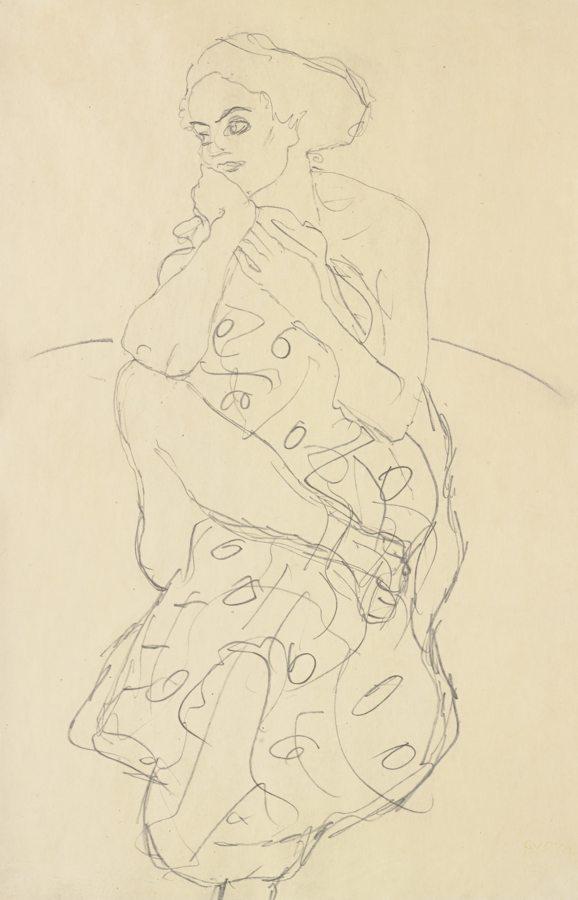 Gustav Klimt-Sitzender Halbakt Von Vorne Den Kopf Nach Links Gewendet (Seated Semi-Nude Seen Head-On With Her Head Turned To The Left)-1910
