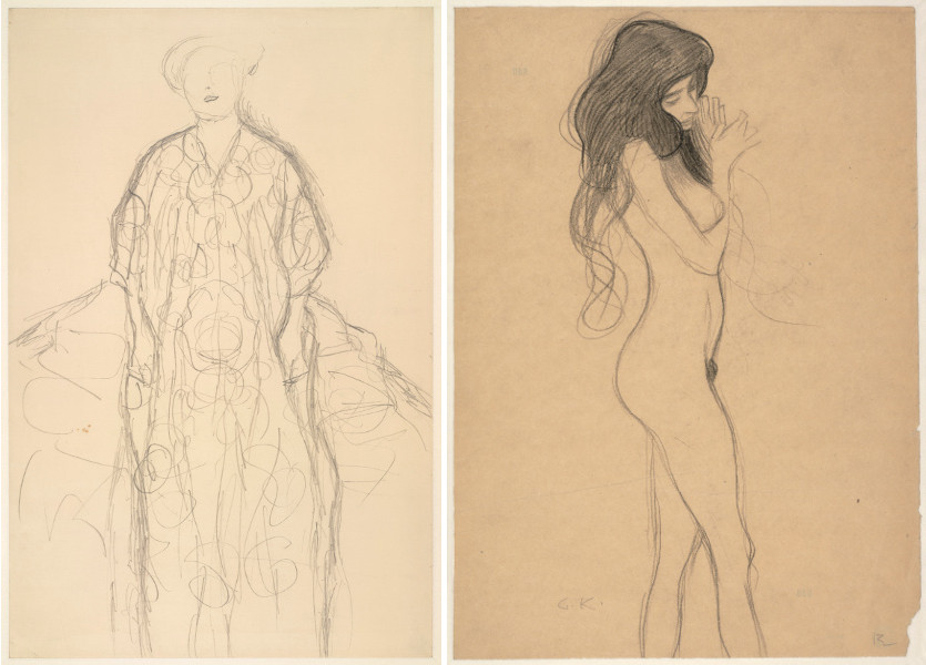 """Gustav Klimt - Standing Woman (Study for Portrait of Eugenia Primavesi), 1918, Standing Female Nude (Study for the Beethoven Frieze """"The Three Gorgons""""), 1918; From a Egon Schiele self collection Egon Schiele made in 1918"""
