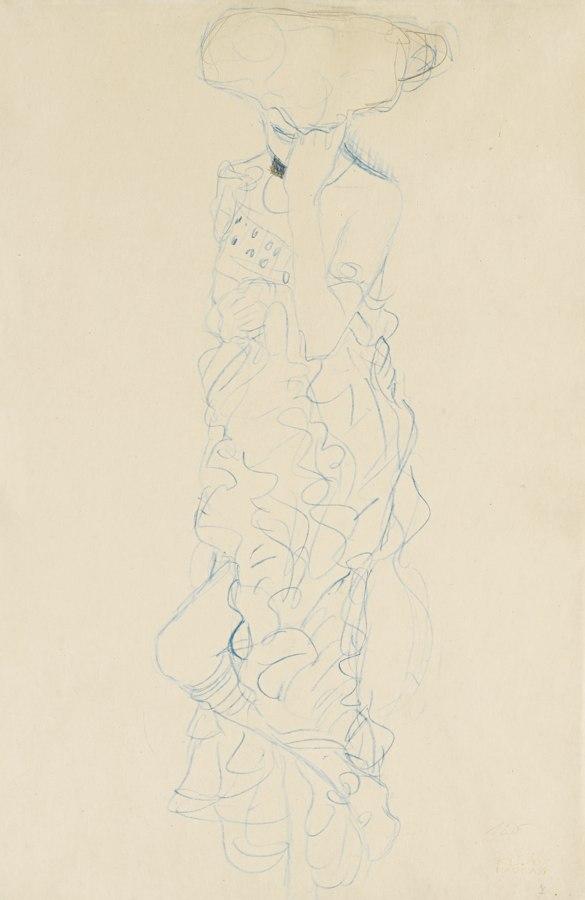 Gustav Klimt-Stehender Halkbakt Mit Verdecktem Gesicht Von Vorne (Semi-Nude Woman Standing With Her Face Covered Seen From The Front)-1909