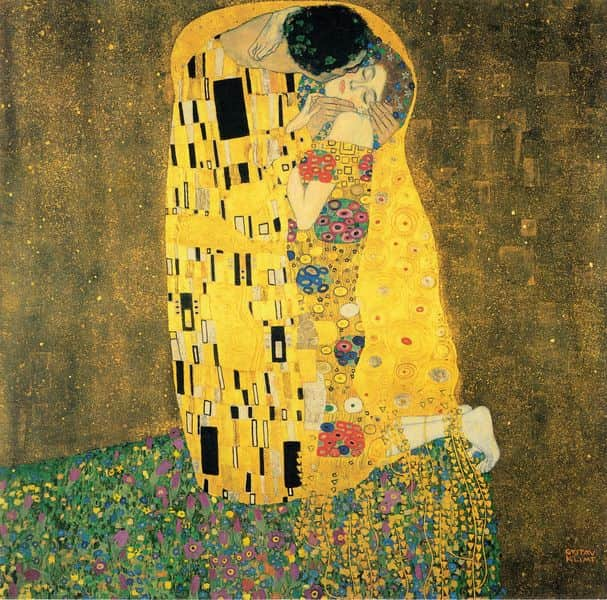 Gustav Klimt The Kiss painting in gold leaf depicting a man and a woman