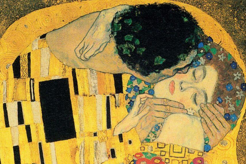 Gustav Klimt The Kiss painting in detail woman