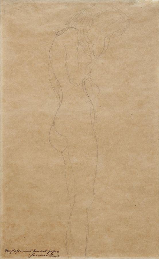 Gustav Klimt-Weiblicher Akt mit langen Haaren (Female Nude with Long Hair)-1907