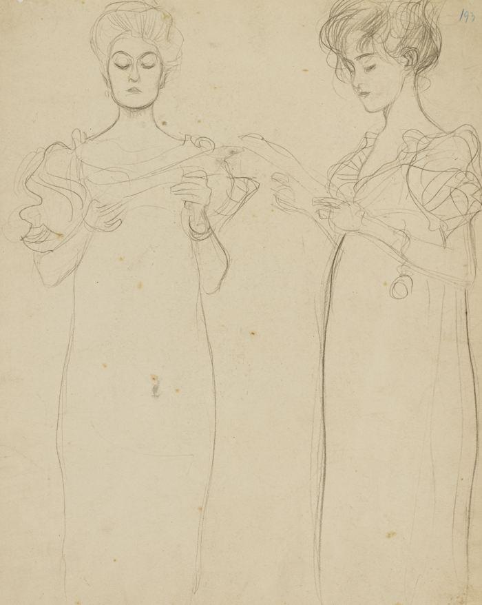 Gustav Klimt-Zwei Studien Nach Singenden Madchen (Two Studies Of A Singing Girl)-1896