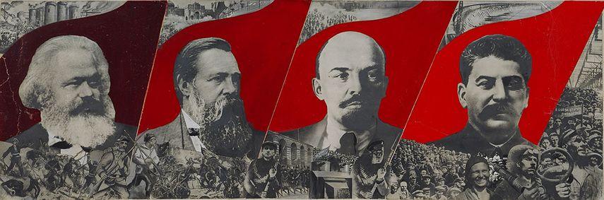 Gustav Klucis - Dressez la bannière de Marx, Engels, Lénine et Staline !, Esquisse pour une affiche, 1933