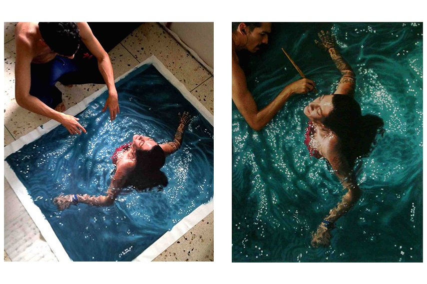 Gustavo Silva Nuñez creating his artwork in the new style of hyperrealism oil painting