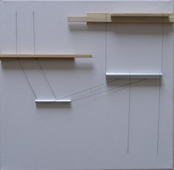 György Szász - Transfer, 2014, canvas, wood, aluminium tubes, thread, 40x40x3.5 cm, courtesy of Ani Molnár Gallery
