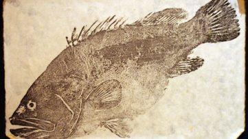 Gyotaku on paper, taken at Omori, Tokyo, Japan