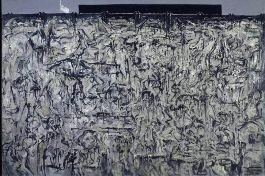 Hans Burkhardt - La Brea Tar Pirs Burial of County Museum, 1975, Oil on Canvas
