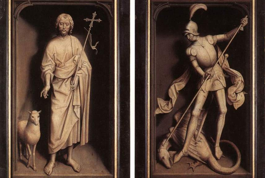 Hans Memling - Donne Triptych, Saint Jean Baptiste et Saint Georges