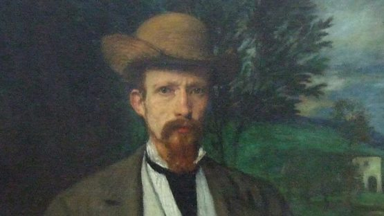 Hans von Marees - Selbstbildnis mit gelbem Hut (Self Portrait with Yellow Hat), 1874 (Detail) - Alte Nationalgalerie, Berlin