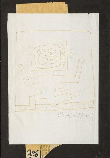 Keith Haring-Tv Head 83 Running-1983