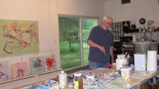 Harry Kramer in his studio