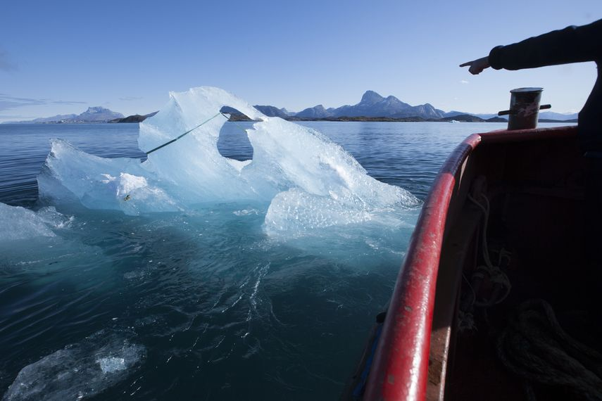 Olafur ELIASSON Harvesting ice floating in Nuup Kangerlua, Greenland, for Ice Watch in Paris, 2015