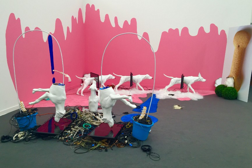 Heather Phillipson - 100 OTHER FIBRES, installation view at Frieze Projects New York, 2016
